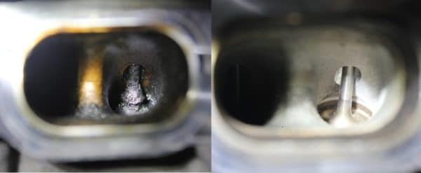 Intake valve before and after walnut shell blasting showing all of the carbon deposits removed