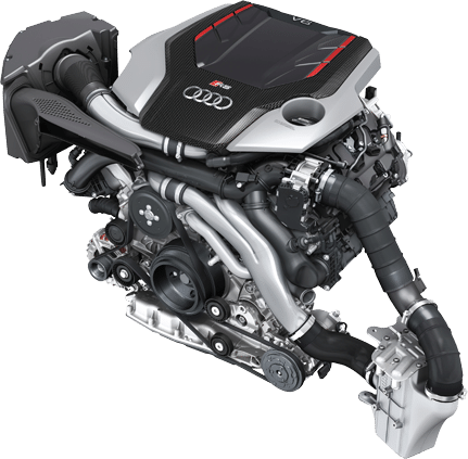 Audi B9 RS5 Engine overview with airbox and intercooler visible